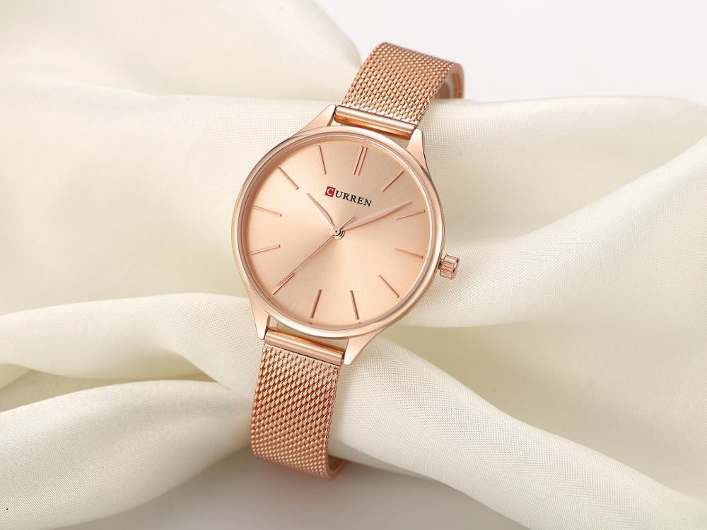 CURREN Luxury Women Watches Casual Mesh Wristwatch Girl Watch Gift Modern Fashion Rose Gold Stainless Steel Montre Femme 2019 enlarge