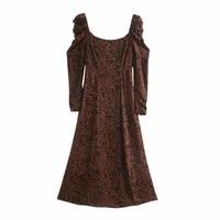 women fashion spring 2021 new dress puff sleeve square collar high waist medium long length print ladies dress