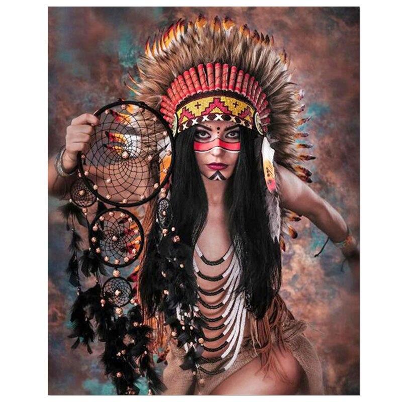 Diamante bordado indio mujer mosaico de diamantes de imitación Diy 5d diamante pintura sueño pluma artesanía boda DecorationZP-2292