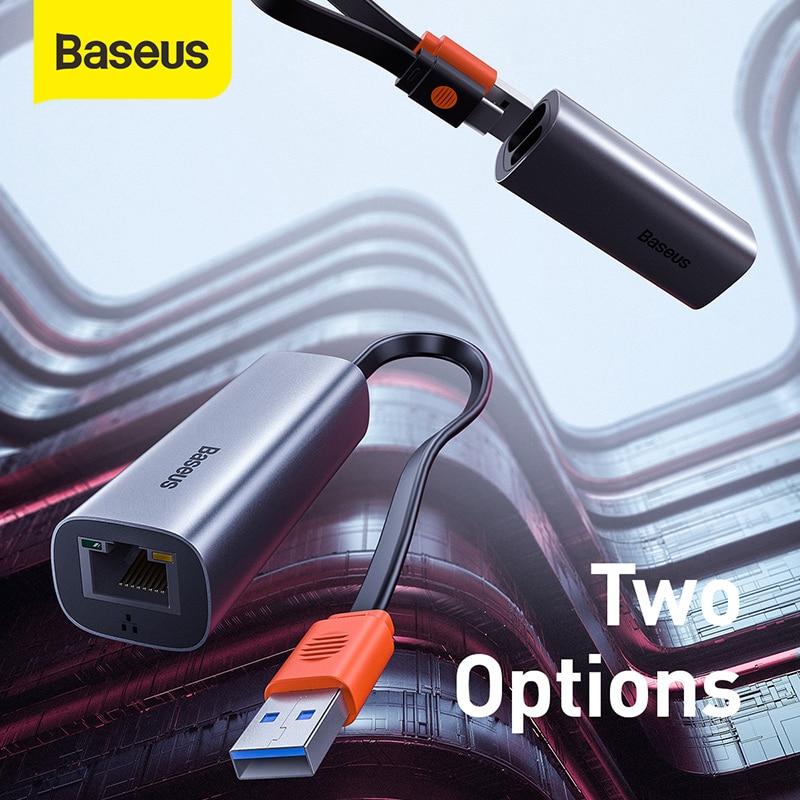 Baseus USB-A ونوع-C ثنائي الاتجاه جيجابت LAN محول سائق خالية من تركيب USB محول توسيع منفذ إيثرنت نوع-C محول