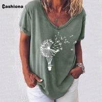 plus size 5xl dandelion print top ladies elegant leisure casual t shirt womens tee pullovers summer loose shirt femme clothes