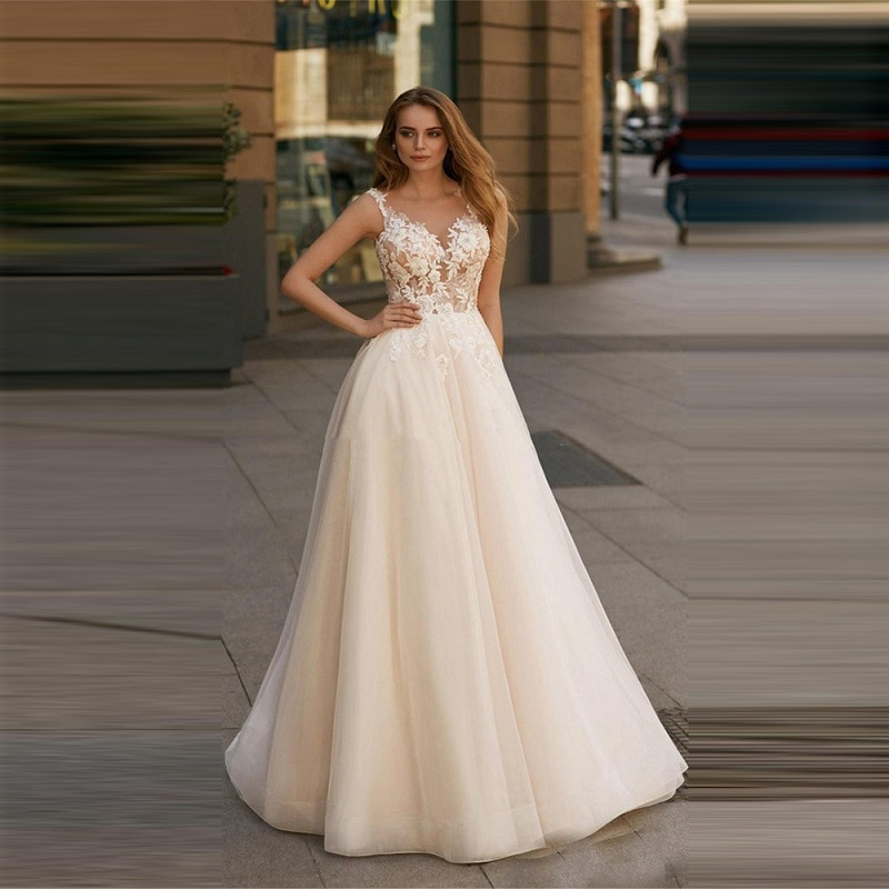 Beautiful Sleeveless Soft Tulle A Line Wedding Dress Lace Appliques Simple Robe De Mariee Fashion Street Bridal Gowns 2021 недорого