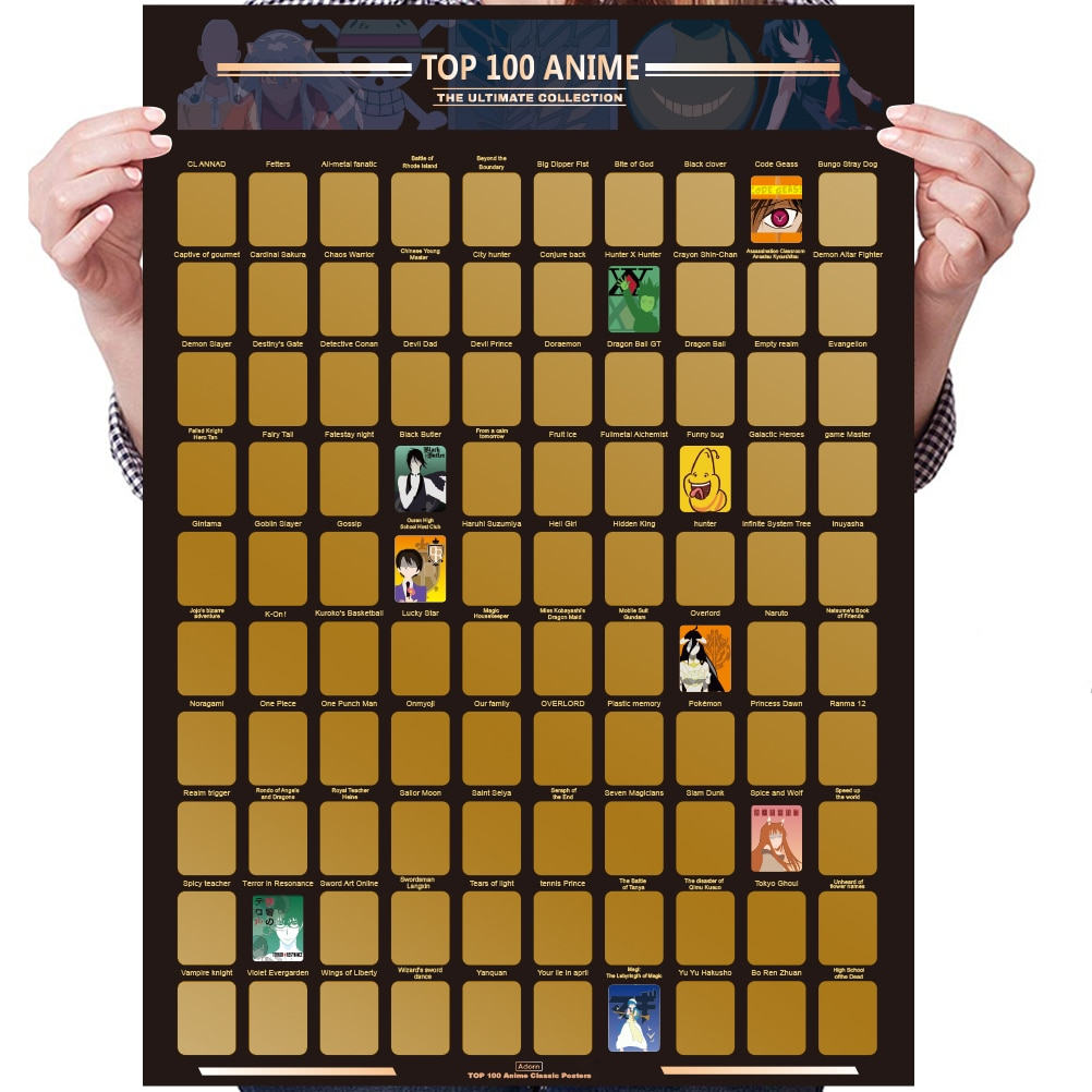Top 100 Anime Scratch Off Poster Anime Bucket List Premium and Artistic Icons Great Gift For Anime E