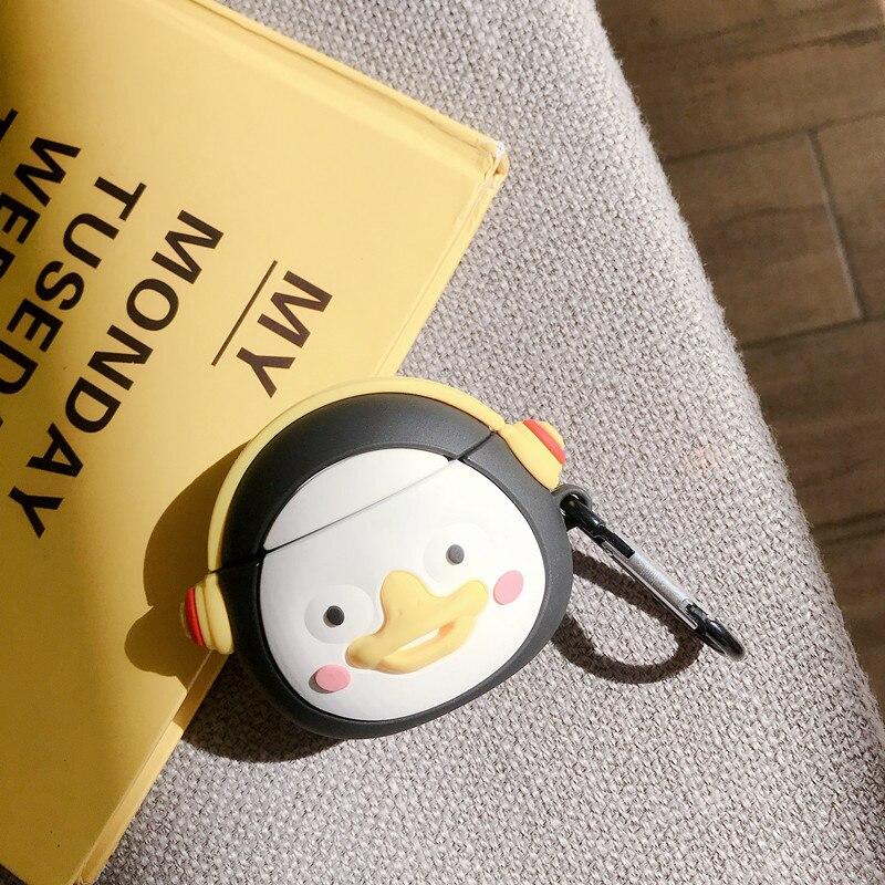 Para Apple AirPods Pro Bluetooth auriculares inalámbricos cubierta de auriculares funda de silicona 3D dibujos animados lindo escuchar música pingüino
