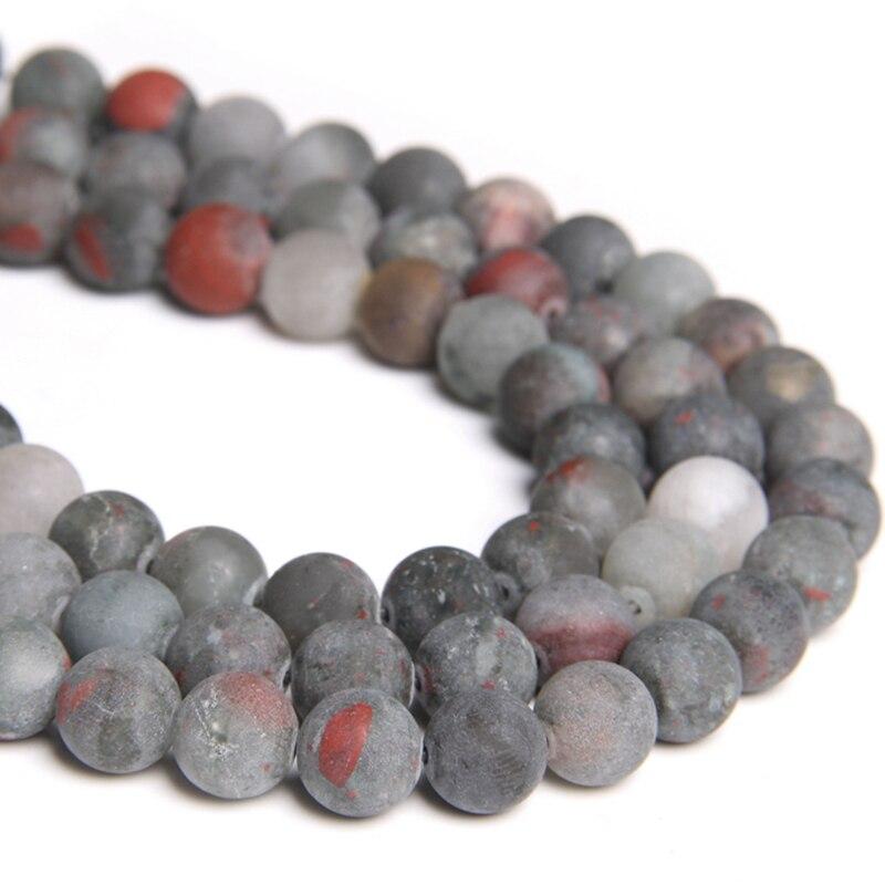 Pedra de sangue natural contas geadas matte redonda solta espaçador grânulos 4 6 8 10 12mm para fazer jóias pulseira colar a granel