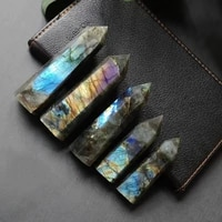 natural crystal labradorite hexagonal column crystal point mineral ornament healing wand home decor diy gift decoration wicca