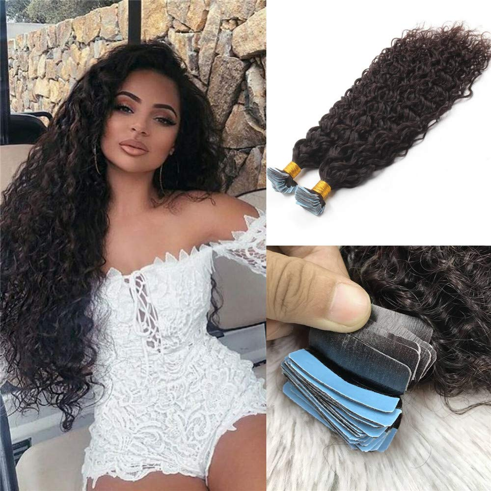 Water Wave Tape in Human Hair Extension Brazilian Virgin Hair Skin Weft Tape in Curly Adhesive Tape Hair Extensions 100g 40pcs