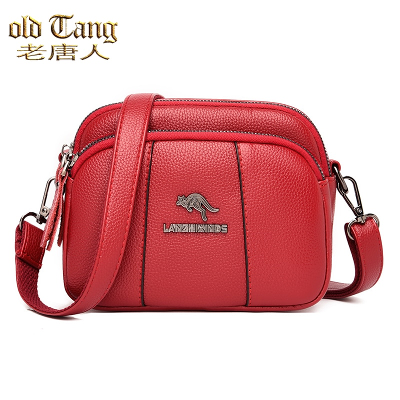 Retro Pure Color Leather One-shoulder Bags for Women 2021 New Female Large Capacity Multi Zipper Cro
