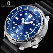 PAGRNE DESIGN Diving Watch Ceramic Bezel Mechanical Wristwatches Rubber Strap Sapphire Glass Automat