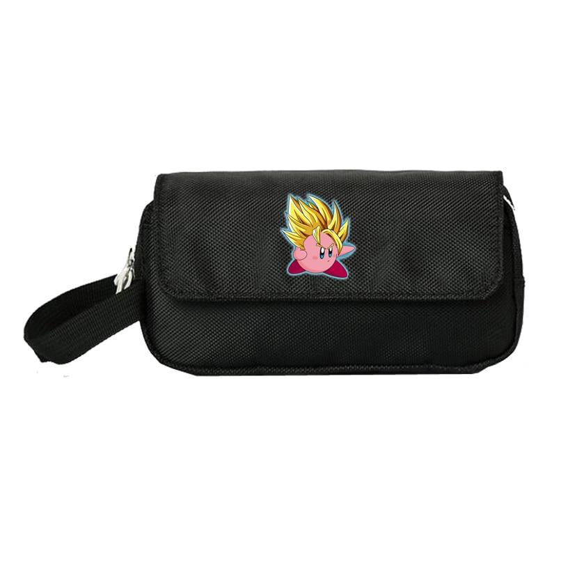 Funda de anime Kirby, estuches de cosméticos para mujeres, bolsa de maquillaje para niños, estudiante, bolsa de doble cremallera, bolsa de mano caliente