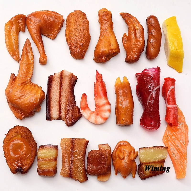 Simulation Food Model Restaurant decor fake Chicken Leg Wings shrimp squid sausage chicken wing pork ribs props toys
