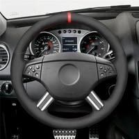diy anti slip wear resistant steering wheel cover for mercedes benz w164 ml350 ml500 m class 2005 2006 car interior decoration