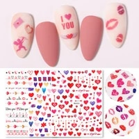 single sheet 3d nail sticker back adhesive pink love red lips roses design nail art decals for diy manicure decoration beauty
