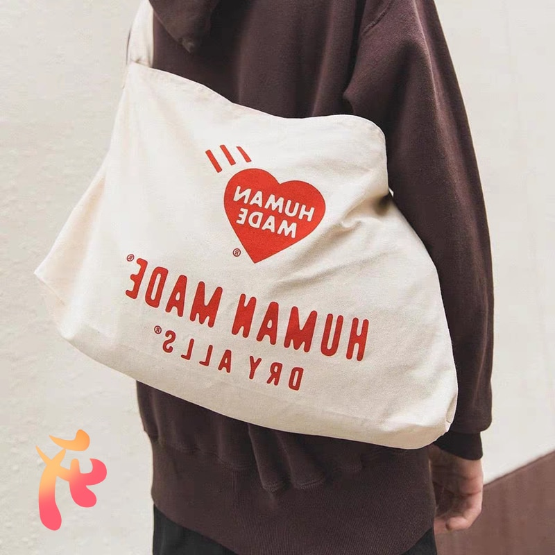 Women Bag Men Human Made Classic Red Love Canvas Bag Harajuku High Capacity Human Made Fashion Casua