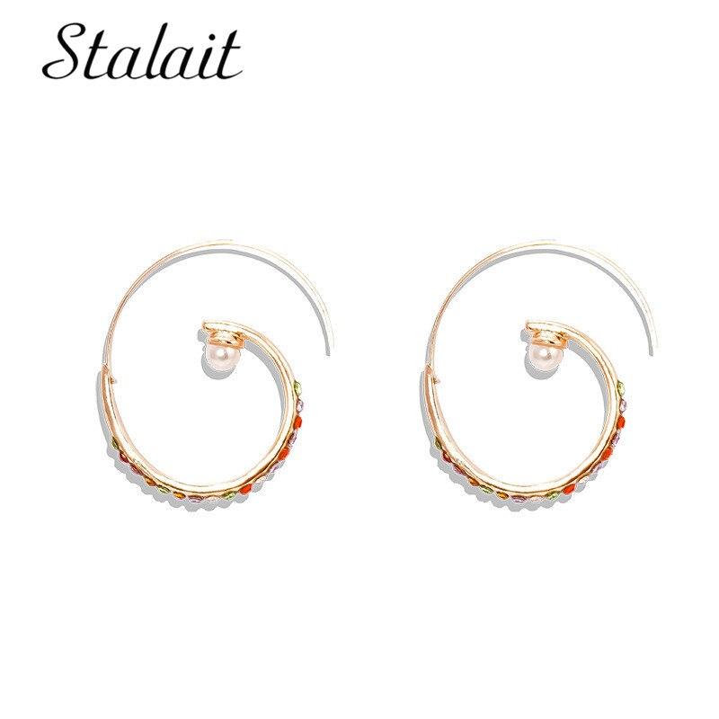 Pendientes de aro espiral redondo de diamantes de imitación coloridos grandes para mujer a la moda para perlas para fiesta joyería de oro para chica