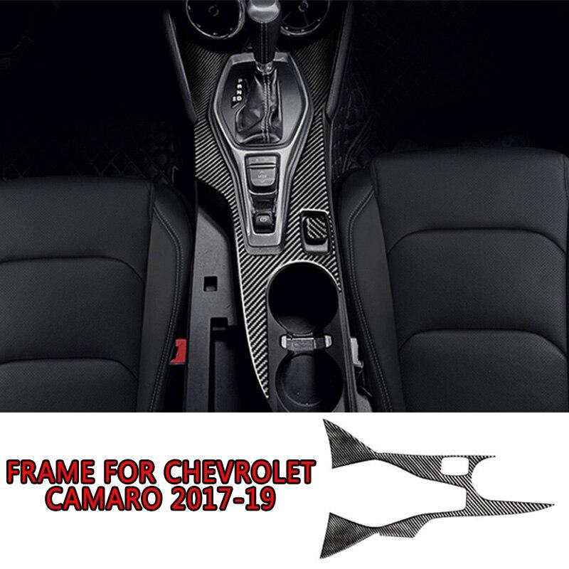 Pcmos cubierta de marco de cambio de marchas interiores de fibra de carbono Real embellecedor de pegatina Interior automotriz para Chevrolet Camaro 2017-2019 Accesorios