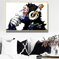 colorful graffiti art cute monkey printed oil painting on art canvas posters and prints wall art pictures living room decor