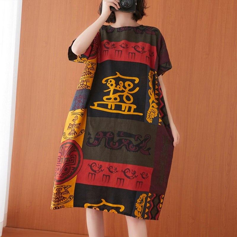 المتضخم المرأة القطن الكتان فستان كاجوال جديد وصول 2021 الصيف إيندي النمط الشعبي خمر طباعة فضفاضة الإناث فساتين طويلة S3602