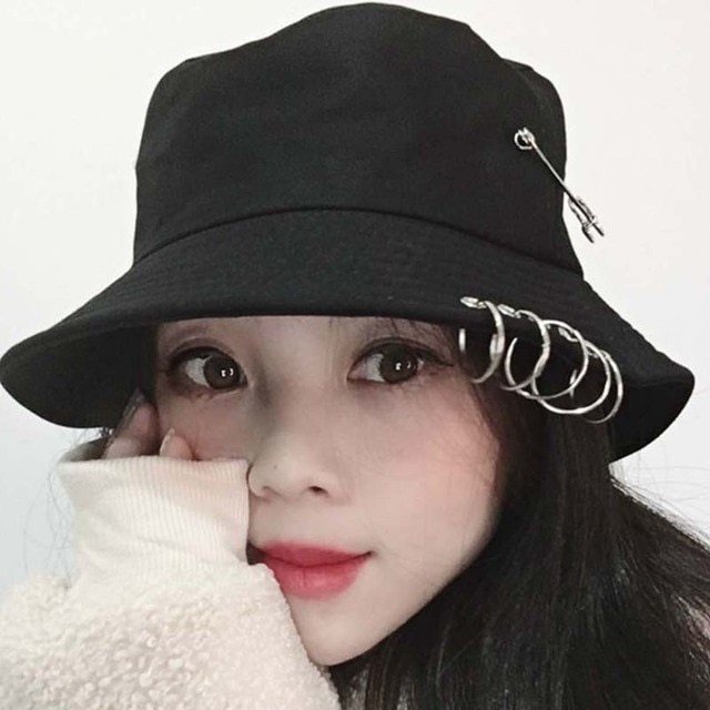 1PC Unisex Women Men Bucket Hat Pin Rings Sunhat Caps Summer Hats Maple Leaf Fisherman Hat Double-sided Wearable Pink Color New