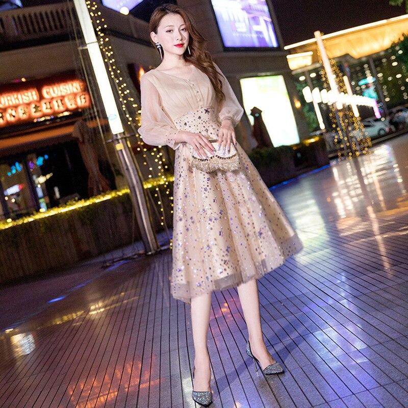 Exquisito vestido de lentejuelas ostentoso, vestido de fiesta de noche Sexy, Cheongsam...