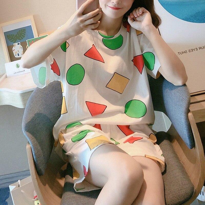 Pijama Sin Chan Women's Pajamas Sets for Women Summer Pijama Sinchan Sleepwear Suits with Shorts Hom