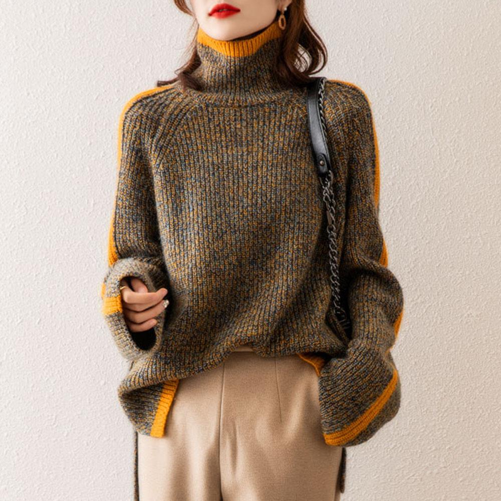 Pullover Turtleneck Sweater Women Long Sleeve Jumper Korean Winter Oversized Harajuku Color Block Knitwear Female Knitted Tops