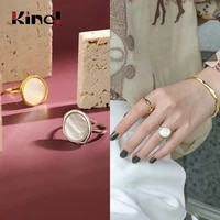 kinel 18k gold 925 sterling silver ring vintage shell bague adjustable finger simple punk ring silver 925 jewelry