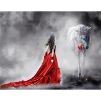 amtmbs picture by numbers kits red dress girl with wolf art drawing on canvas handpainted diy frame paint by number home decor
