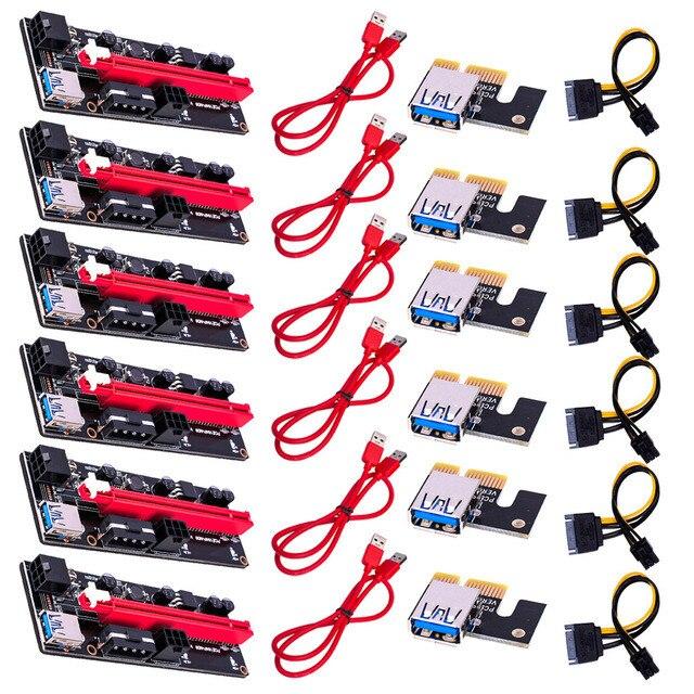 6 قطعة أحدث VER009 USB 3.0 PCI-E الناهض VER 009S اكسبرس 1X 4x 8x 16x موسع pcie الناهض محول بطاقة SATA 15pin إلى 6 دبوس الطاقة