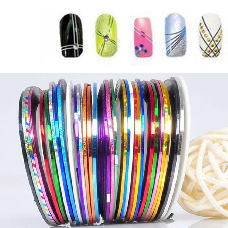 10/20/30 цветов полосатая Наклейка 3D клейкая лента клейкая Супер тонкая наклейка для дизайна ногтей украшения для ногтей наклейка голограмма