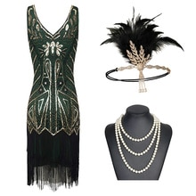 Femmes clapet robes 1920s perlé frangé Great Gatsby robe avec accessoires ensemble xs-xxl