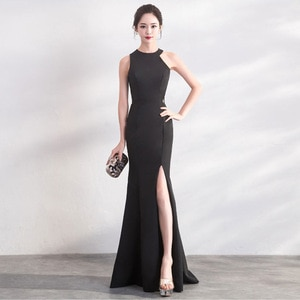 Evening Dresses Simple Trumpet Floor-length Halter Neck Zipper Back Black White Plus size Customized Women Formal Dress R1080