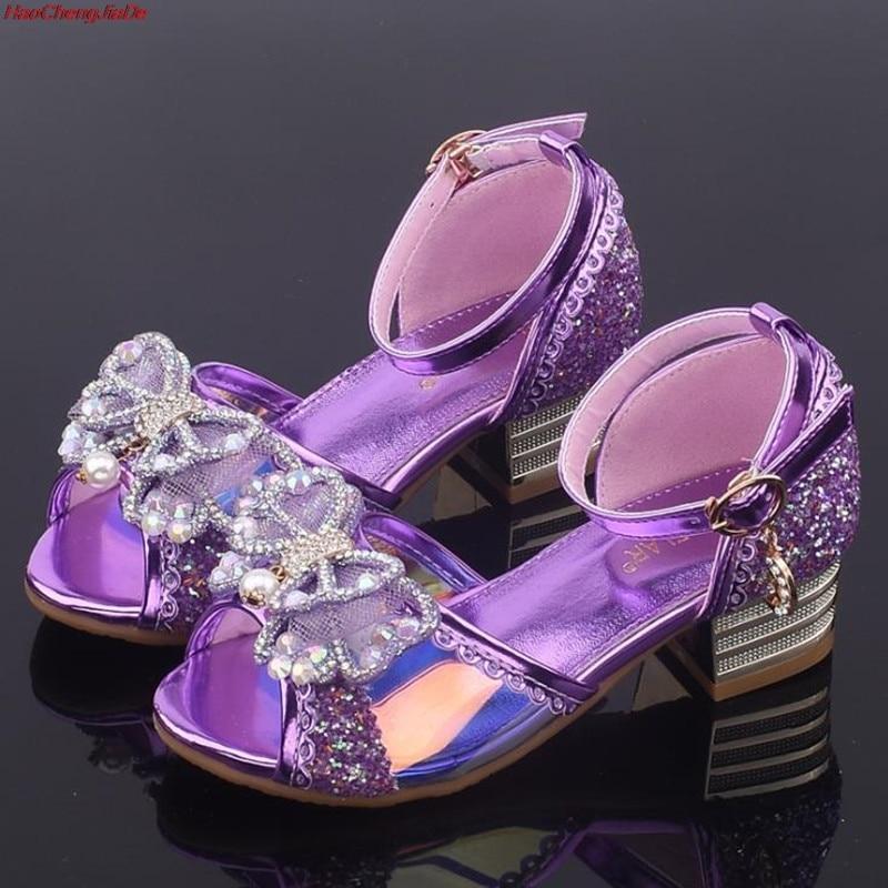 Nuevas Sandalias para niñas tacones altos moda infantil princesa cuero verano Elsa zapatos Chaussure Enfants Fille Sandalias Niña