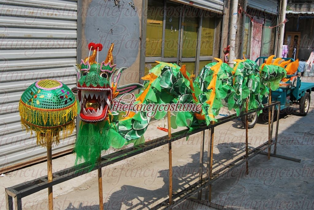 6 Players 5.5m Silk Length Dragon Dance Costume Kid Children Student School Halloween Party Performance Parade Folk Stage  China