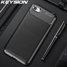 KEYSION Antichoc pour iPhone SE 2020 Nouvelle Fiber De Carbone Silicone Téléphone Couverture Arrière Pour iPhone 11 Pro Max XR XS Max 8 7 6 Plus