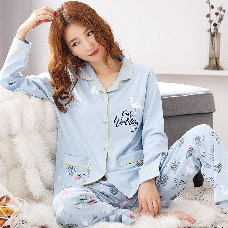 Party Pajamas 2020 New Women's 100% Full Cotton Long Sleeve Pajamas Set Loose Print Home Clothes Women Sleepwear Suit Long Pants