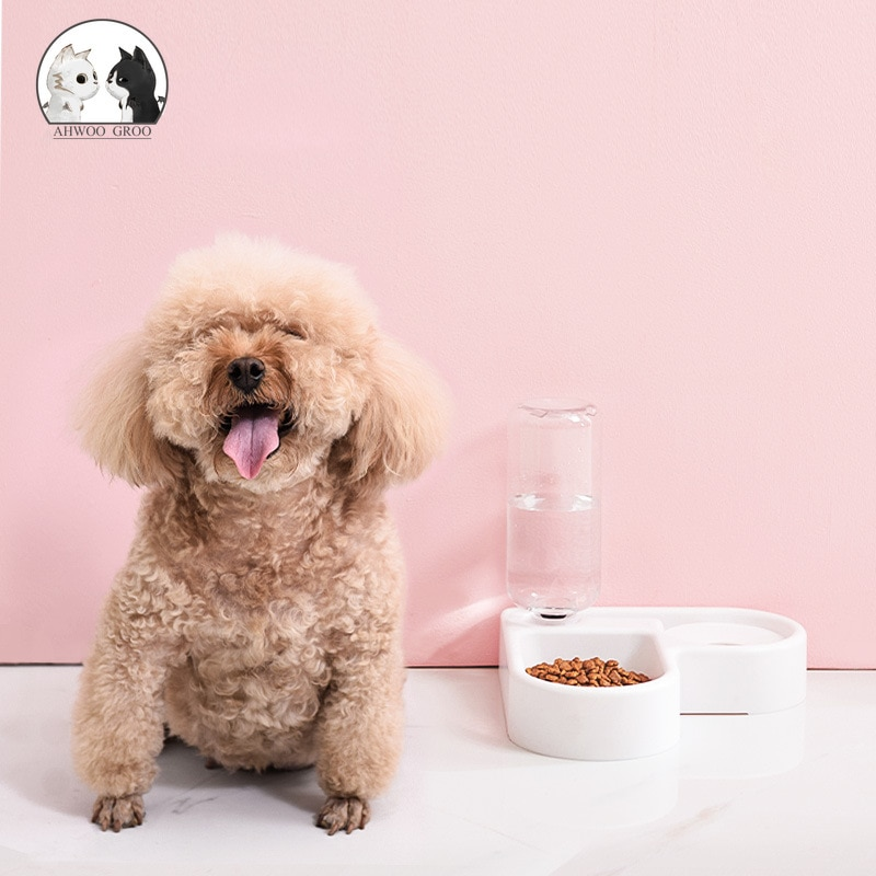 500ml narożna miska dla psa pies kot podajnik automatyczny karma dla kotów podwójna miska z dozownik do wody Puppy plastikowy pojemnik do karmienia