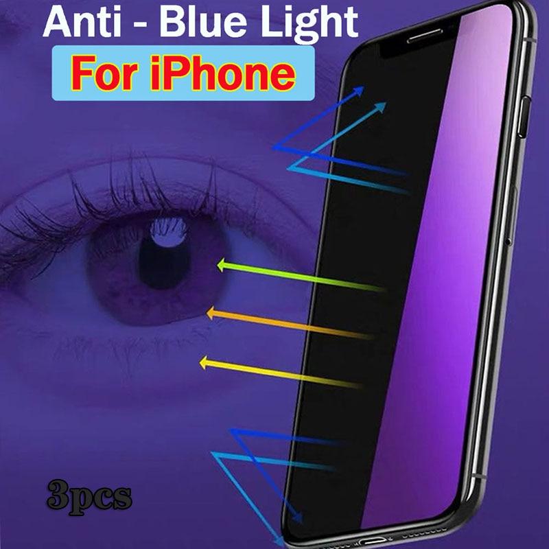 Protecteur d'écran Anti-lumière bleue, 3 pièces, en verre trempé pour iPhone 11 12 13 Pro Max 6 7 8 Plus 11 Xs Max X S XR SE 2020 12 pro max