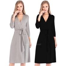 Robes de demoiselle dhonneur coton respirant Robe pour femmes Style ample col en v salon trois quarts manches vêtements de nuit Robe de bain