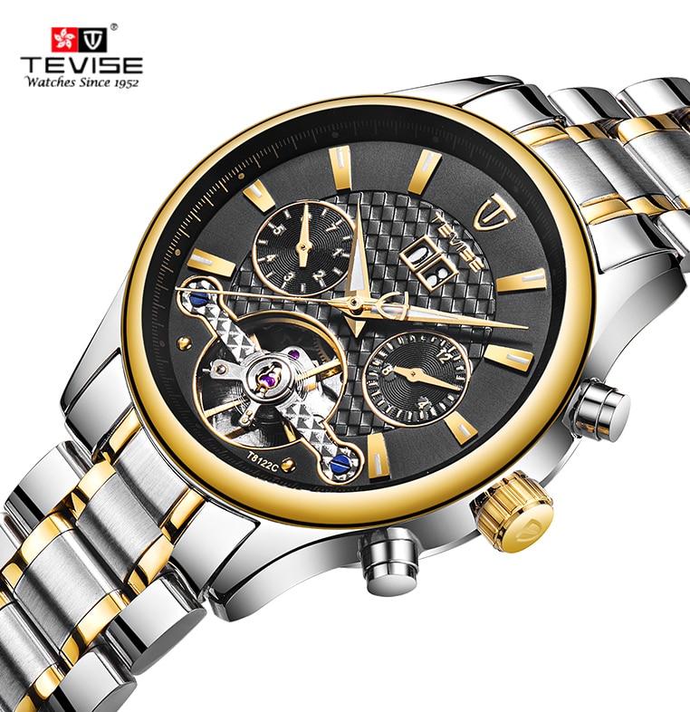 Reloj de pulsera de hombre de negocios de acero inoxidable 2020 TEVISE, reloj mecánico automático de lujo a prueba de agua, Calendario/semana/mes para hombres