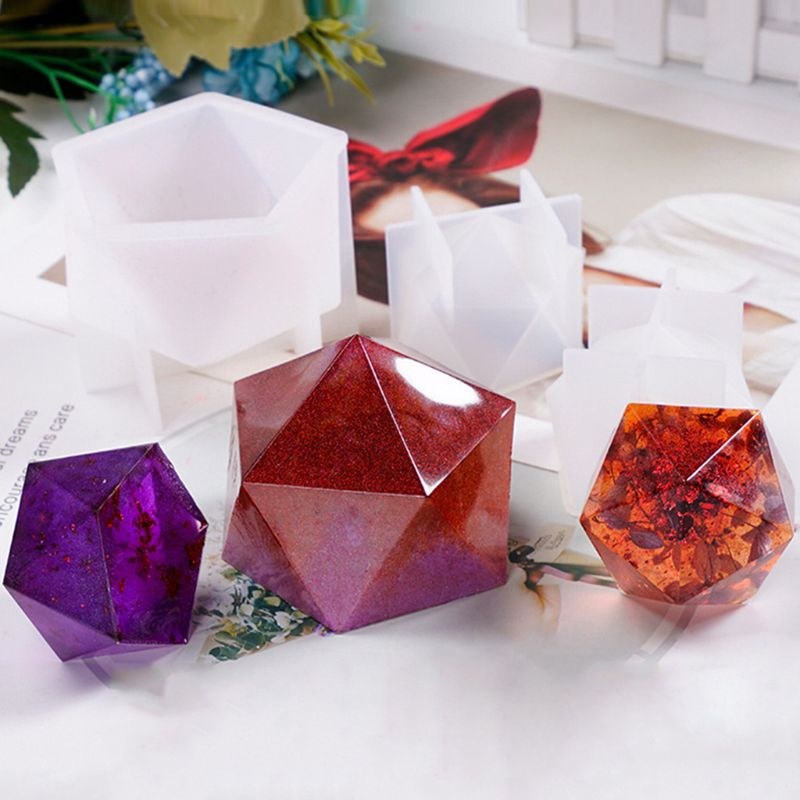 Nuevo cristal epoxi molde mesa de escritorio decoración joyería grande Multi-facetado alto espejo resina molde de silicona fabricación