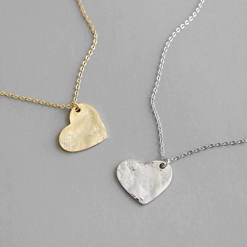 COLLAR COLGANTE ajustable para parejas de Plata de Ley 925, collar de cadena larga amor corazón de oro coreano, joyería de moda para mujer