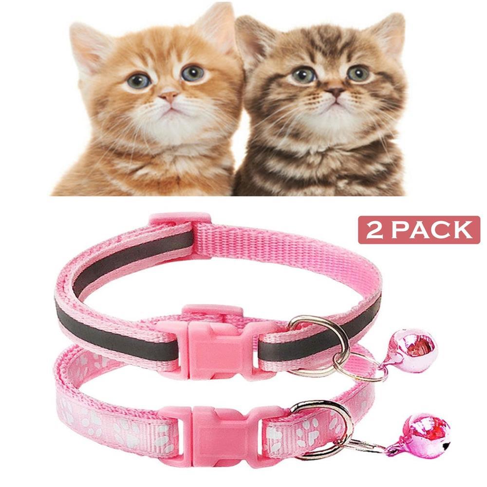 Pack de 2 huella gato reflectante Collar con Bell básicos perro gato Collar hebilla ajustable poliéster pata Collar de perro