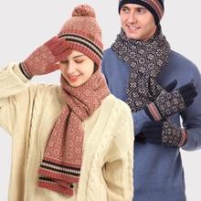Boho Chic Hat Scarf Gloves Set 3 Pcs Fashion Winter Warm Woman Shawl Ladies Knitted Female Headscarf