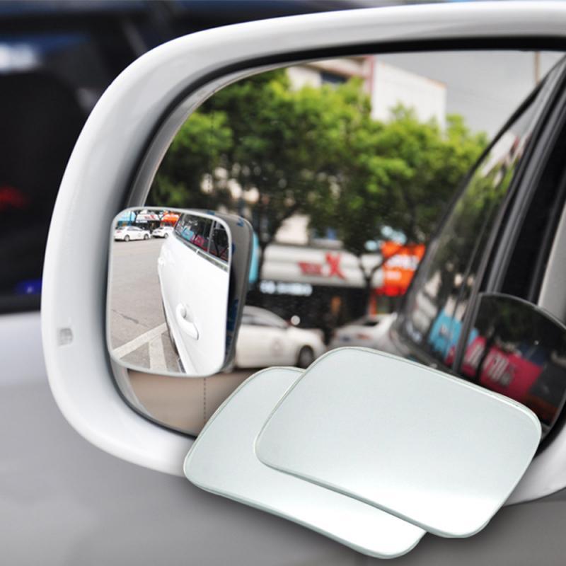 2 pçs ponto cego espelho de carro hd borderless pequeno espelho redondo ajustável espelho de ponto cego lente grande angular espelho retrovisor