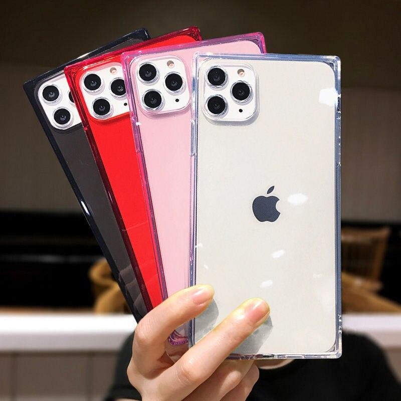 Mode 6D Vierkante Telefoon Case Voor Iphone 11Pro Max Xr X 6 6S 7 8 Plus Xs Max Xr gevallen Zachte Siliconen Transparant Cover Coque Gift