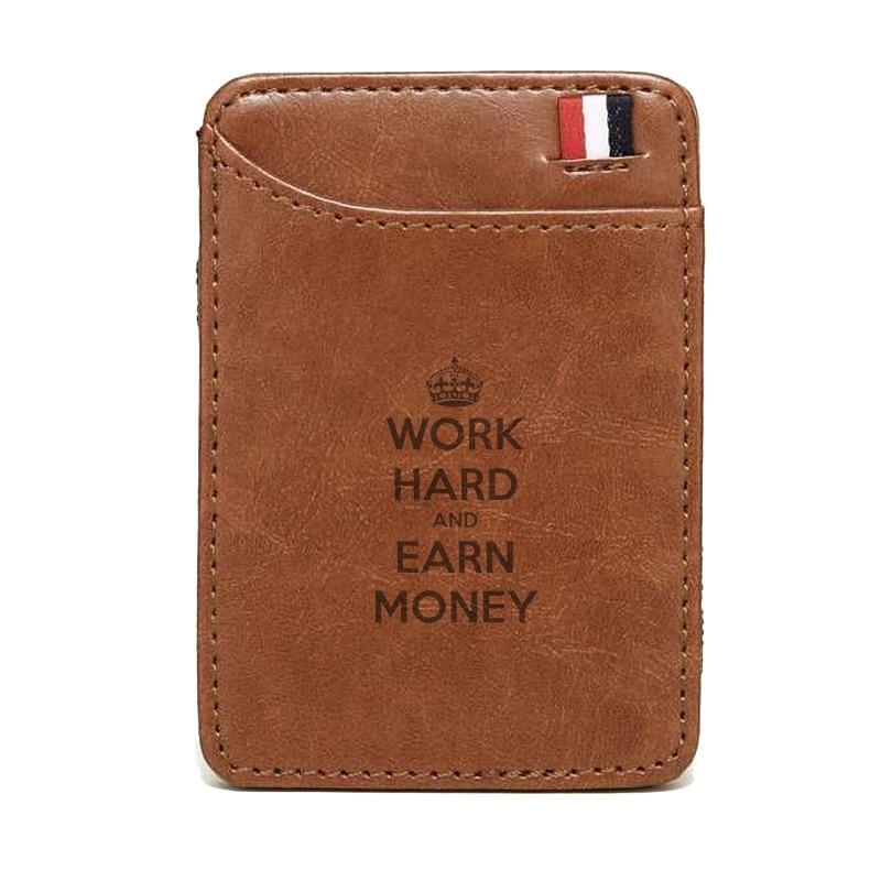 2019 עבודה חדשה קשיח ולהרוויח כסף Slim עור גברים ארנק קסם מותג מעצב גברים ארנק כרטיס מחזיק Bifold מלחציים עבור כסף