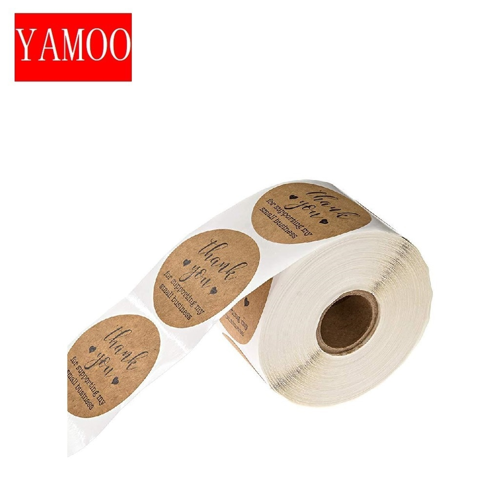 round kraft paper label sticker thank you handmade heart stickers for scrapbooking stationery sticker