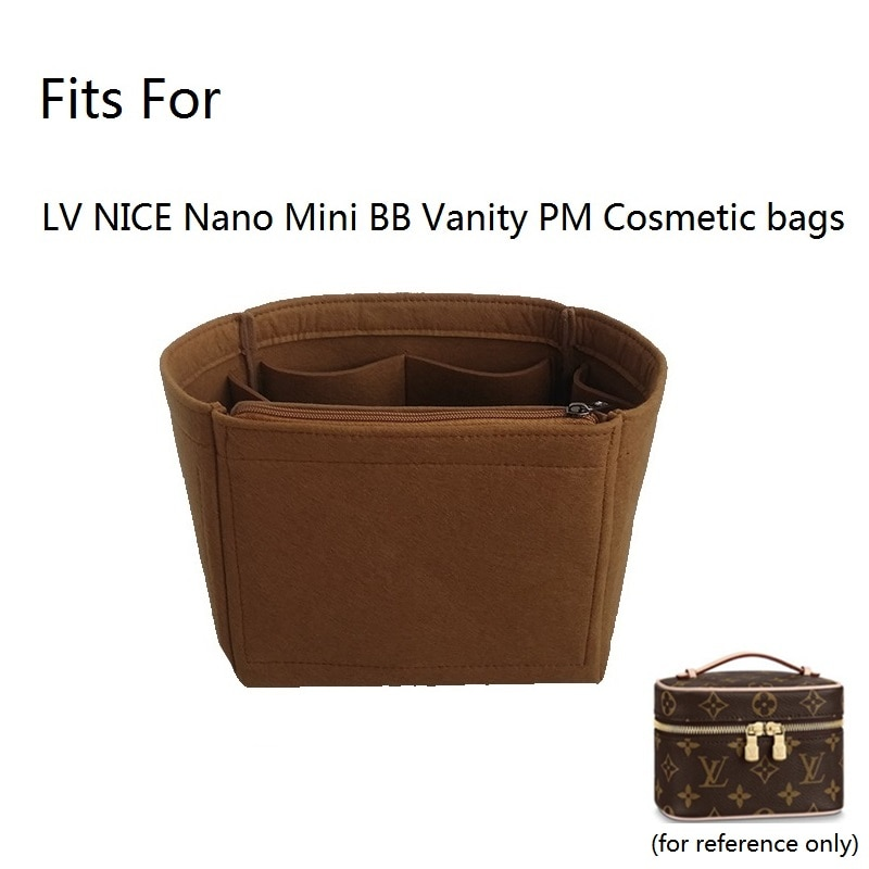 For NICE Nano Mini BB Vanity Felt Cloth Insert Bag Organizer Makeup Handbag Organizer Travel Inner P
