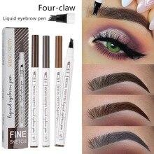 Stylo à sourcils naturel imperméable à leau quatre griffes oeil sourcils teinte maquillage trois couleurs crayon à sourcils brun noir gris brosse cosmétiques